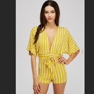 Lucy Striped Romper in Mustard